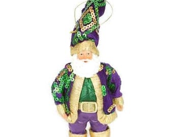 Mardi Gras King Santa Christmas Holiday Tree Ornament from right from Santa's Workshop Cajun Creole