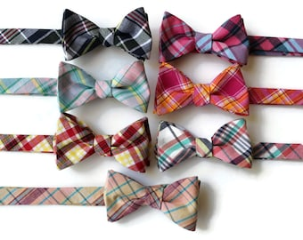 Madras Plaid Bow Tie~Mens Self Tie Bow Tie~Mens Pre Tied~Anniversary Gift~Wedding Tie~HoBo Ties~Cotton Bow Tie~Mens Gift~Wedding~Mens Plaid