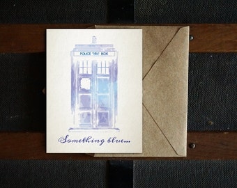 TARDIS Something Blue Printable Wedding Card, Doctor Who Card, Nerdy Card, Wedding Card, Blank Inside, 4.25x5.5, 5x7, PDF