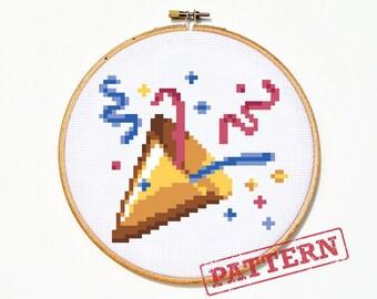 Emoji Celebration Party Popper Cross Stitch Pattern