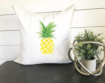 """Pineapple Pillow Cover 18"""" x 18"""" , Summer Pillow Cover, Pineapple Decor, Gift, Summer Decor , Beach Decor, Beach Pillow Cover"""