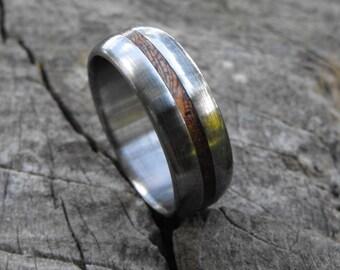 Titanium Ring, Wood Ring, Mahogany Ring, Wedding Ring, Wedding Band, Mens Ring, Womens Ring, Handmade Ring, Personalized Ring, Wooden Ring