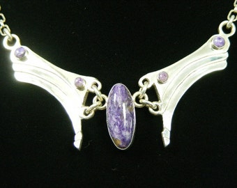 Descending Waves With Charoite Gemstone, Handmade Original, Art Jewelry, Sterling Silver. Brilliant Finish