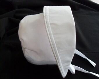 Baby Bonnet Hat - White with flip-back brim sizes newborn to 2 years.