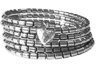Silver/grey wrap bracelet with heart charm