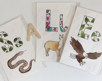 Clearance! Animal Letter Cards, with pretty floral letters