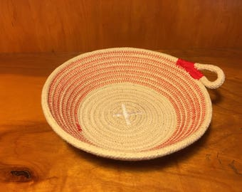 Natural cotton rope bowl with red accent, christmas bowl