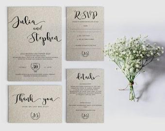Digital wedding invitation - Printable wedding invitation set - Personalized wedding invitation - Calligraphy wedding invitation printable