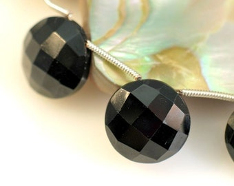 Black Garnet Faceted Coin Briolettes AAA Pendant 14mm Focal 4 Beads Pairs REDUCED
