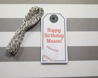 Birthday Tags Baseball Tags Gift Tags Wish Tree Tags Favor Tags Set of 12 Tags  Personalized
