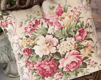 Wonderful Rare 30s 40s Pink English Cabbage Rose Floral Print Vintage Nubby Barkcloth Fabric Decorative Throw Pillow