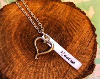 Rescue Necklace, Dog Necklace, Dog Jewelry, Handstamped Necklace, Bar Necklace, Handstamped, Dog Rescue, Rescue