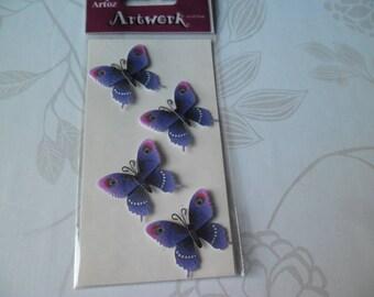 x 1 Board stickers decals 3D butterflies purple tone 3 x 2.8 cm