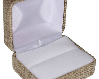 Burlap Covered Ring Box (Pkg of 12)  (DBX3902)