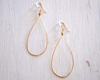 14k Gold Filled Hammered Teardrop Earrings