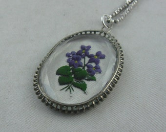 Beautifully designed, ancient glass pendant in Art Nouveau style: violet bouquet in glass painting on silver chain (Ag 925) VINTAGE