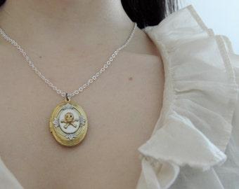 Skull locket // brass skull necklace