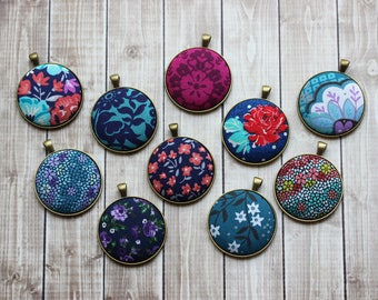 Colorful Boho Necklace, Floral Fabric Pendant Your Choice, Unique Gift For Women, Navy, Coral, Purple, Teal, Cobalt Blue, Jewel Tone