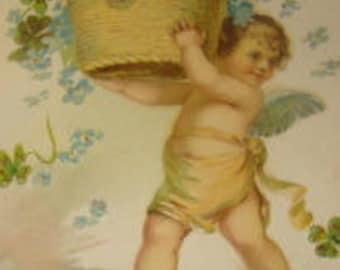 Pretty Vintage Postcard (Forget-me-nots and a Cherub)