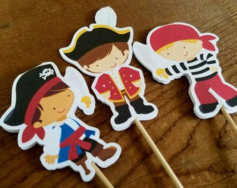 Pirate Boy Party - Set of 12 Double Sided Assorted Pirate Boy Cupcake Toppers by The Birthday House