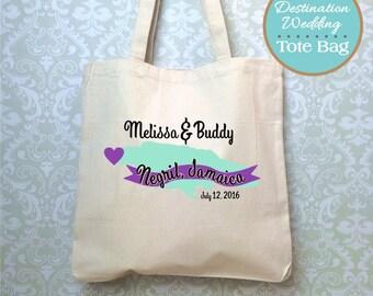 Jamaica Destination Wedding Bag, Design Proof Only, Wedding Welcome Bag, Wedding Favor, Jamaica Destination Wedding Gift, Jamaica Tote Bag