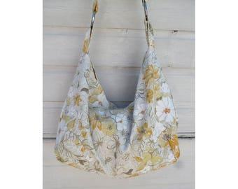 Vintage floral sloucht shopper messenger tote shoulder bag