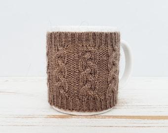 Mug Sweater, Cup Cozy, Reusable Coffee Sleeve Hand Protector, Drink Grip, Chocolate Brown