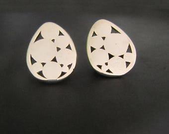 Circles Teardrop Stud Earrings, Teardrop Earrings, Sterling Silver Earrings, Studs, Jewelry, Gift, Minimalist Earrings