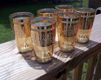 Six Mid Century Gold Plated Foreign Writing Barware or Juice Glasses    Box FF