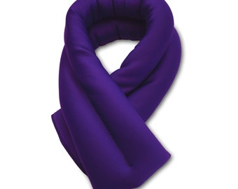 Purple Neck Ice Wrap 5x26, Microwavable and Freezable, Hot and Cold Pack, Extra Long and Wide, Filled with Flax Seeds