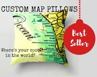 Wanderlust Pillow, Any City Pillow, Wanderlust Gift, Travel Decor, Custom City Pillow
