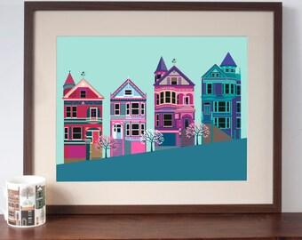 San Francisco Painted Ladies Art Print - Pink