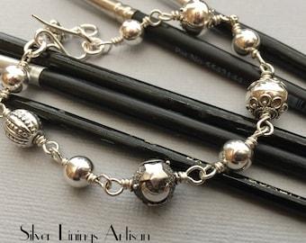 Sterling Silver Bali Bead Bracelet, Handmade Stacking Bracelet, Classic Sterling Silver Beaded Bracelet, Artisan Bracelet, Metalsmith