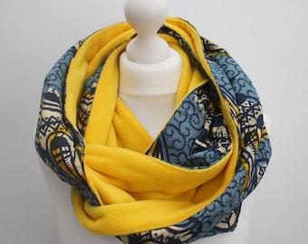 Blue Snood scarf,  Wax Print Scarf, Ankara Scarf, Afrocentric scarf, African print scarf, African winter scarf, Handmade Scarf, Gift for Him