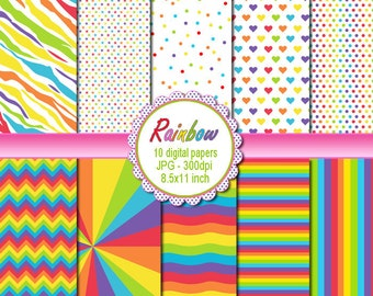 Rainbow Clipart - Printable Craft Paper Graphic Design INSTANT DOWNLOAD