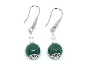 Bottle green agate and silver metal earrings.
