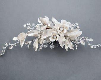 Wedding Hair Clip of Porcelain Flowers Crystal and Matte Silver Leaves Bridal Accessories