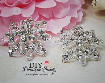 2 pcs Flower Crystal Rhinestone Component Embellishment for Brooch Bouquet Crystal Wedding Supply Bridal sash pins  35mm 882092