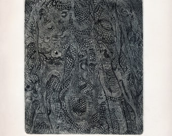 LACE - VEIL / Original / art / realistic / etching / woman / print / printmaking / face / detailed / mourning / dark / veiled / intaglio / a