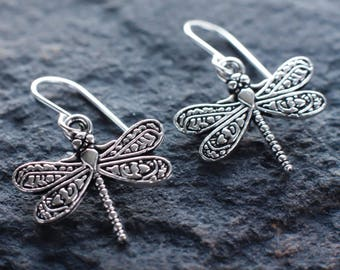 Silver dragonfly earrings | Dragonfly sterling silver earrings | Botanical earrings | Nature earrings | Woodland earrings | Charm earrings