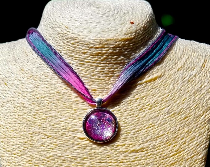 ONE LEFT: Hand Painted Glass Pendant, The Universe Is Purple (Necklace or Keychain)