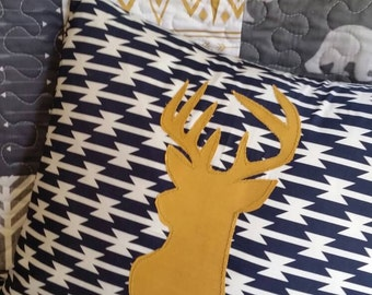 Deer Throw Pillow | Nursery Bedding Crib Bedding Baby Throw Pillow Buck Deer Applique Decor Woodland Tribal Gold READY to SHIP