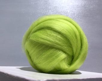 Yellow Green Merino Wool Roving, Needle Felting wool, Spinning Fiber, felting wool, lime green wool, chartreuse Merino roving