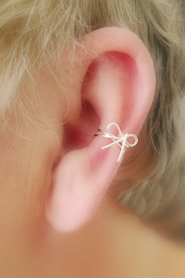 Ear Cuff Dainty Bow/ Choice of colors Non Pierced