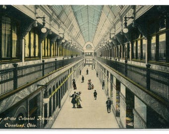 Colonial Arcade Shopping Interior Cleveland Ohio 1910c postcard