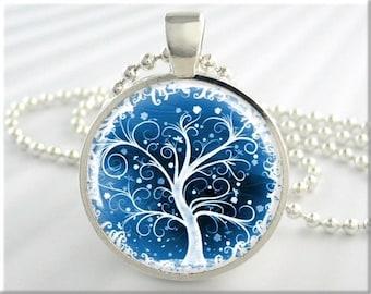 Tree Of Life Pendant, Winter Snow Jewelry, Resin Necklace, Art Pendant, Blue Tree Of Life, Winter Season, Round Silver Pendant 408RS