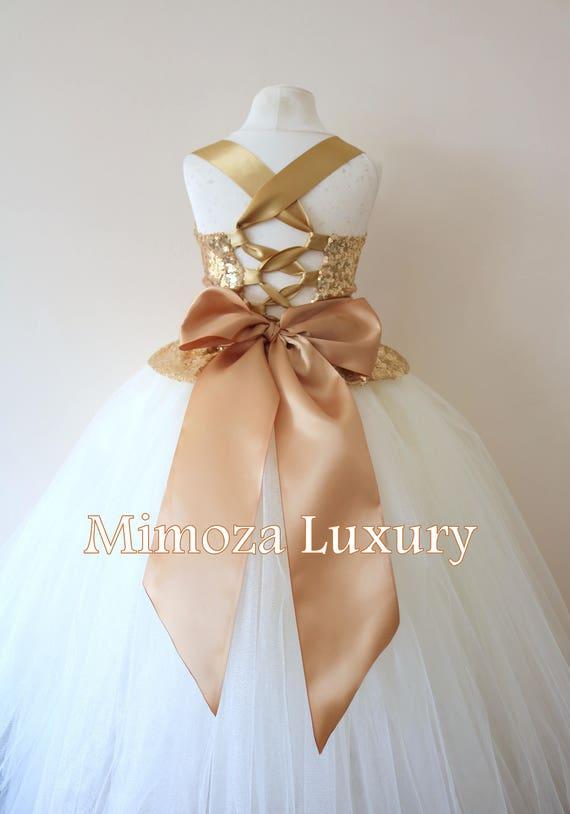 Gold Ivory Flower Girl Dress, gold bridesmaid dress, couture flower girl gown, bespoke girls dress, tulle princess dress, gold Ivory tutu