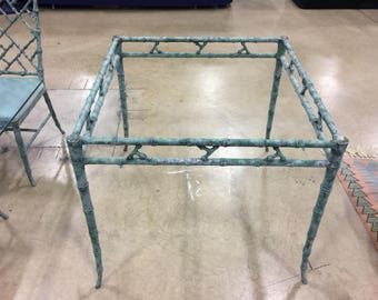 CHIPPENDALE FOR SALE / Phyllis Morris Cast Aluminum Square Chinese Chippendale Patio Table / Verdigris Finish / Hollywood Regency