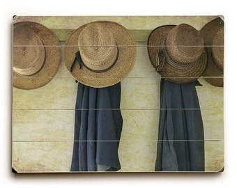 Wood Sign: Amish Photography, Amish Hats, Country Landscape Art, Classic Americana on Wood Planks, Art on Wood