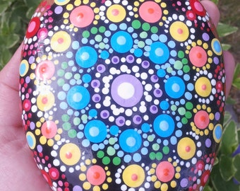 Dot Art Hand Painted Large Rock Chakra Mandala for Yoga, Meditation or Decoration